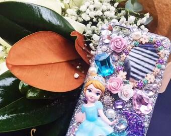 DIY PHONE CASE-Cinderella-Disney handmade case, shining phone case, Mirror,Silver colored,cute,personalised for iPhone6PLUS/6SPLUS/7PLUS