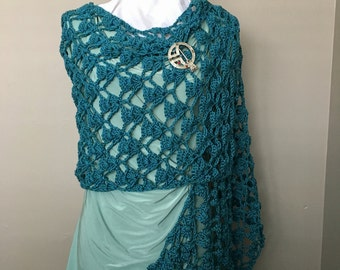 Italian Wool Lacy Shawl, Crochet Lacy Shawl, Mother's Day Gift, Elegant Shawl, Bridesmaid Shawl, Prom Wrap, Teal Shawl, Wedding Shawl