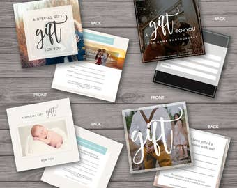 Gift Certificate Photography Set of 4 - Gift Certificate Template - Photoshop Template, PSD *INSTANT DOWNLOAD*