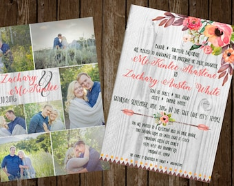 5x7 Watercolor Boho/Rustic Wedding Inviations with Ceremony Card insert