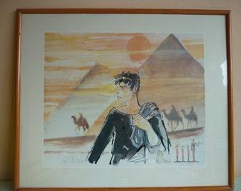 Reproduction of a watercolor by Hugo Pratt, Corto Maltese, 1903, El Giza, Egypt