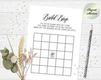 Bridal shower bingo cards, Bridal bingo cards, Bridal bingo printable, Bridal shower bingo game, Wedding shower bingo game, Gift bingo game