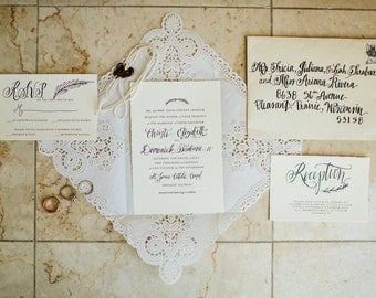 European Style Wedding Invitation Suite: Elegant, Romantic, Simple, Classic (includes RSVP, reception, and details card options) -Rome