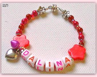 Name bracelet, children bracelet, children's jewellery, pink, orange, silver, name after desire, mother of Pearl, flower beads, heart, bells, gift for girls