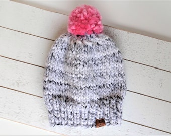 Knit Pom Toque, Marble, Grey, White, Pink, Ready to Ship Size Toddler