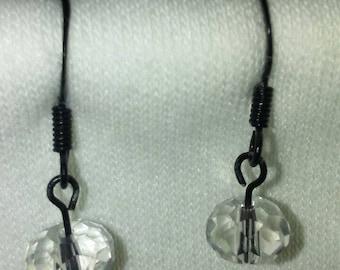 Black  metal with clear crystal earrings