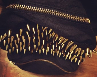 Spiked Black Herschel Backpack (Gold Hardware)