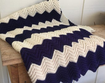 Navy and Cream afghan