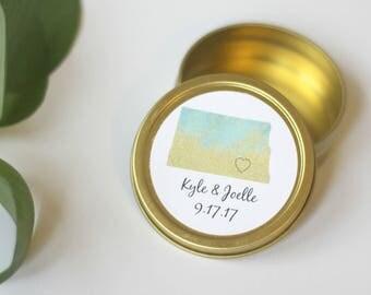 25 Personalized North Dakota State Wedding Favor Tins / Gold Wedding Favor Tins / Mint Tin / Wedding Favors / Custom State Favors