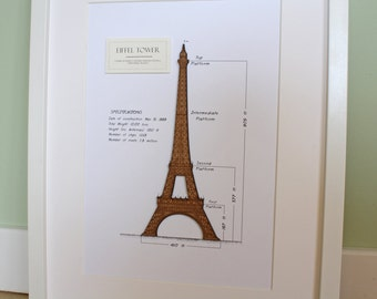 Eiffel Tower Decor, Eiffel Tower Art, Paris Wall Art, Eiffel Tower Blueprint, Laser Cut Wood, Eiffel Tower Art, French Decor, 8x10 or A4