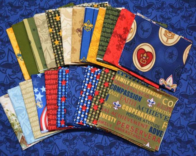 Robert Kaufman Registered Boy Scout Fabric - 100% Kona Cotton - RARE - Fat Quarter Pack 22 Prints