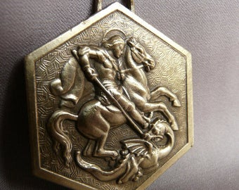 Saint George and the Dragon Medal - Authentic Italian Religious Medal Pendant Charm - Soldier Patron - Boy Scout Medal Estote Parati