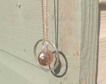 Copper, silver dome and circle necklace