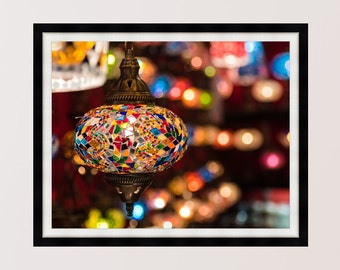 Colourful Turkish Lamps, Ottoman Lamps, Istanbul, Photography Print, Wall Art, Home Decor