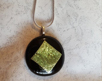 Dichroic glass pendant with silver chain