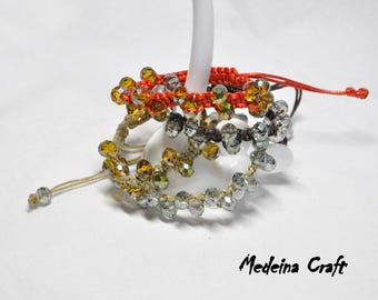 Multi Colour Braided Bracelets with Glass Beads
