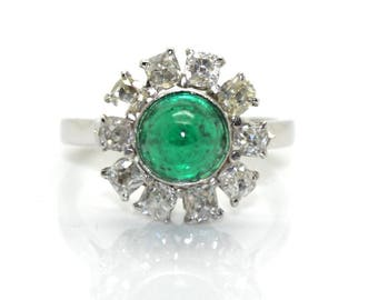 Ring Emerald marguerite, about 1910