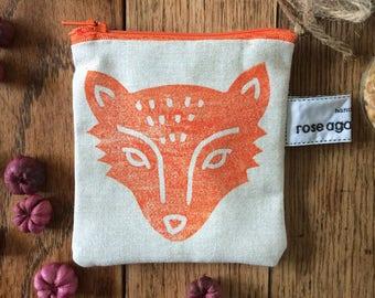 Fox coin purse, handmade purse, hand printed pouch, bags & purses, handmade gift, fox print