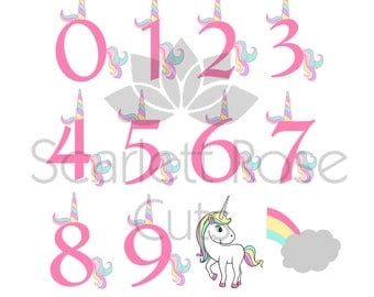 Rainbow Unicorn SVG, Unicorn birthday Numbers, Unicorn Party, Birthday Shirt, Unicorn Face, Rainbow cut file for silhouette cameo and cricut