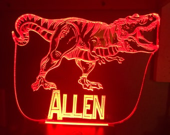Jurassic Park Inspired T. Rex Desktop Lamp / Night Light with Name (optional)