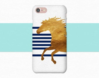 Blue and Gold Horse Phone Case, Horse iPhone Case, iPhone 6 Case, iPhone 7 Case, iPhone Case Horse, Equine Gift for Horse Lover Equestrian
