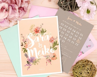 The wedding invitation cards | Pastel vintage invitation | Summer & flowers