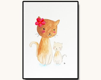 "Cat Nursery Art, Nursery Wall Art, Original Nursery Art, Art and Collectibles, Baby Bedroom Decor, Kids Gift, Me and Mommy, 5""x7"""