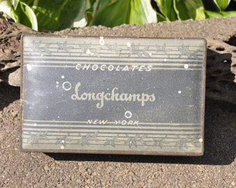 Antique Longchamps Chocolate Tin | Vintage Canco Tin | Metal Candy Hinged Box | Longchamps New York Chocolate Canco Tin | Trinket Box