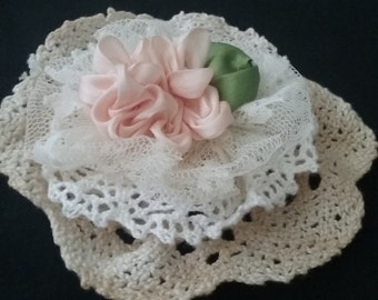 Lace and Ribbon Flower, Handmade Flower