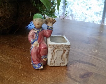 SALE!  Occupied Japan Figurine Asian Man with container/toothpick holder, Planter, Vintage