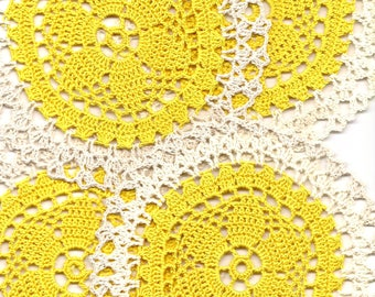 4 Crochet Lace Doily Small Crocheted Doilies Housewarming Gift Home Wedding Decor Handmade Decoration Cotton Textile Art Vintage Set Of 4