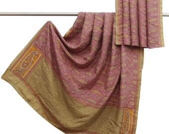 Decorative Vintage Indian 100% Pure Silk Saree Mauve Paisley Printed Used Sari Craft Fabric 5 YD VPS47334