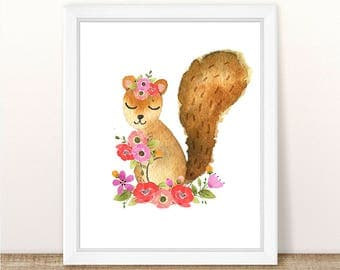 PRINTABLE Girl Squirrel Nursery Art Print, Squirrel Art Print Girl, Floral Squirrel Nursery, Woodland Girl Nursery Art, Girl Pink Squirrel