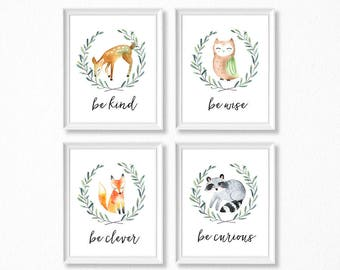 PRINTABLE, Woodland Nursery Art, Woodland Animals Nursery Prints, INSTANT DOWNLOAD, Deer Fox Owl Raccoon Watercolor Woodland Set of 4