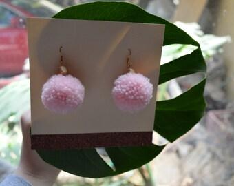 Large Pale Pink Pom Pom Earrings