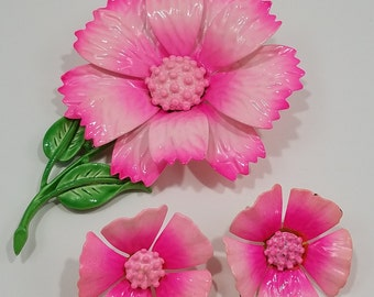 Gorgeous Hedy Enameled Pink Flower Brooch and Clip Earrings