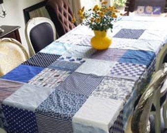 Table cloth, table cloth Patchwork-blue