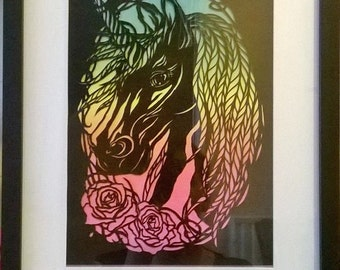 A Handcut Framed Obsidian The Unicorn Handmade Papercut Artwork