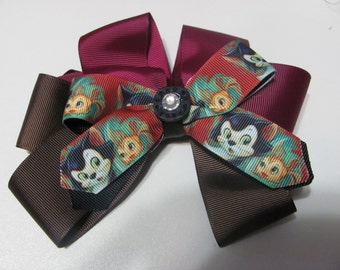 Disney Style Figaro Fancy Stacked Ribbon Hair Bow 6 inch Cat