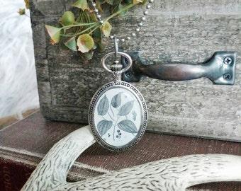 Vintage Plant Anatomy Pendant Necklace in Antique Silver