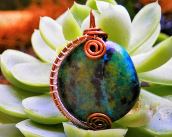 Chrysocolla gemstone pendant, hand made wire wrapped jewellery