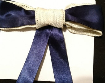 Navy and Burlap Hairbow