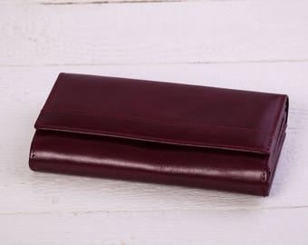 Womens Leather Wallet.Leather Wallet.Leather clutch.Handmade Leather Wallet.Purple Leather Wallet.Women's leather many features Wallet. 161