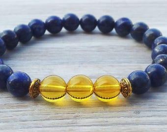 PROSPERITY Citrine  Mens Abundance Bracelet Success Stone Stretch Men Bead Bracelet Gifts For Him Cool Classy Men Jewellery Boyfriends Gifts