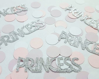 25 pcs PRINCESS Confetti - Silver, Gold, Pink, or Purple Glitter / Girl Birthday Party Decor / Baby Shower Decor / 1st Birthday Decor