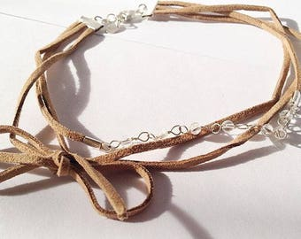 Three Layered Tan Faux Suede Choker Necklace