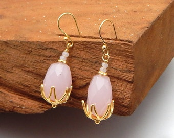 Rose Quartz Dangling Handmade Brass Earrings With 22k Yellow Gold Plated Women Wear Wedding Jewelry Collections