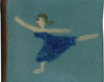 Hand Painted Ceramic Tile, Art Tile, Decorative Backsplash Tile, Dancer