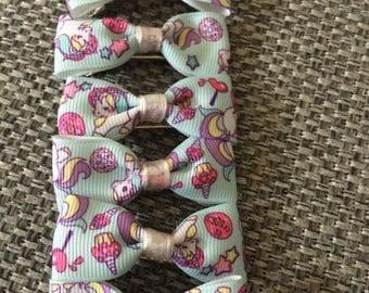 Unicorn print hairbow clips