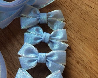 "Sparkly blue ""frozen"" style double hairbows"
